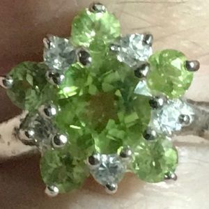 Authentic Peridot .925 Silver Ring SZ 7